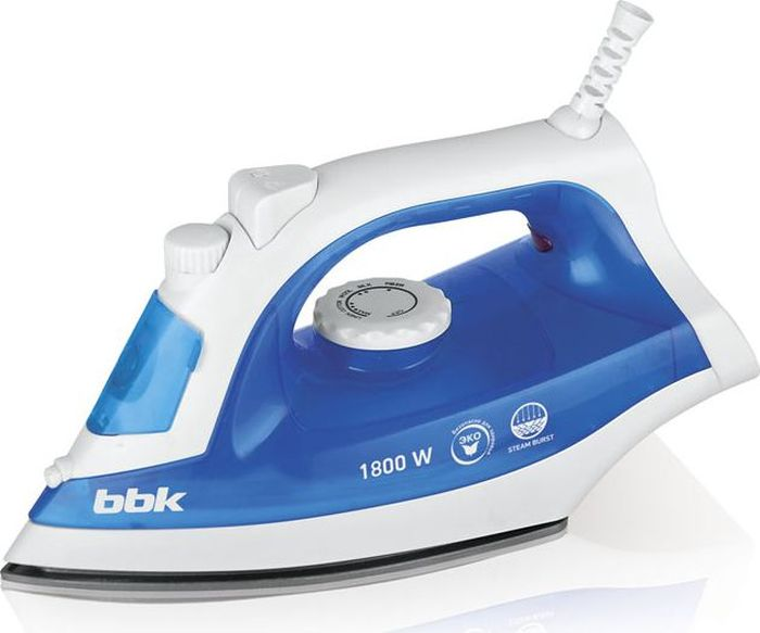 BBK ISE-1801, Cyan утюгISE-1801 голубой CМощность 1800 Вт, паровой удар, вертикальное отпаривание, плавные регулировки подачи пара и температуры, керамическое покрытие подошвы, Anti-calcium.