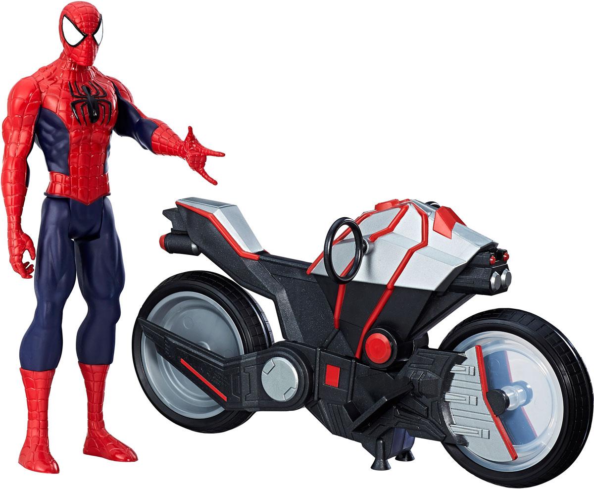 цена на Spider Man Игрушка фигуркаЧеловек паук и мотоцикл