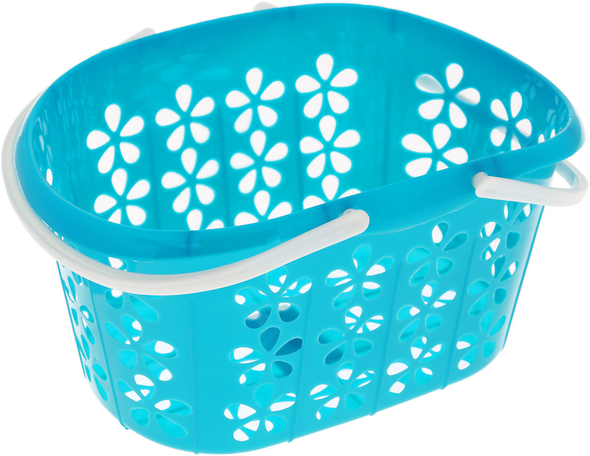 Корзинка Sima-land, с ручками, цвет: бирюзовый, 22,5 х 16,5 х 12 см корзинка для мелочей sima land цвет оранжевый диаметр 15 см