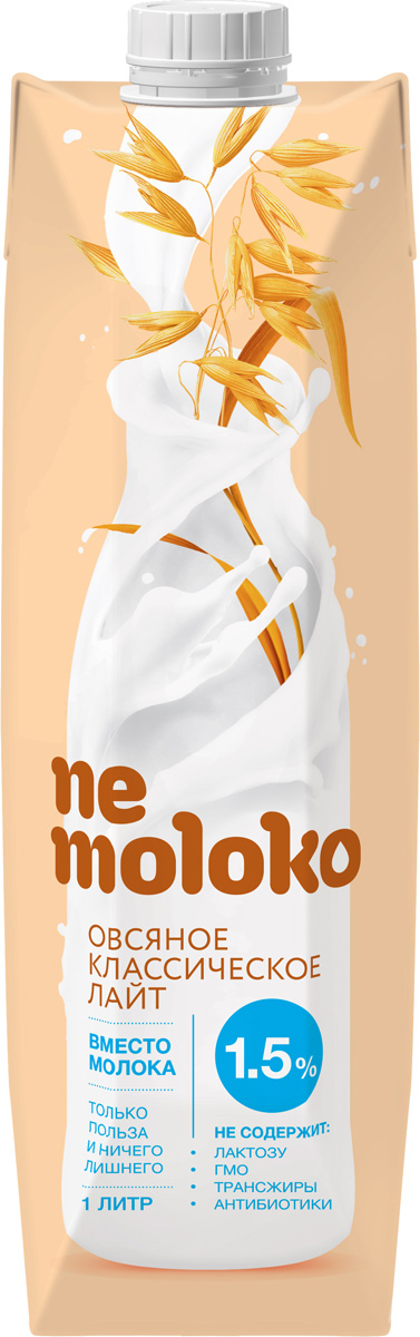 Nemoloko напиток овсяный, обогащенный кальцием и витамином В2, 1,5%, 1 л хлебная смесь овсяный хлеб