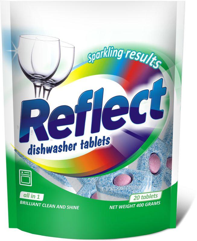 Таблетки для посудомоечных машин Reflect Все в 1, 20 таблеток, 400 г15220Универсальное моющее средство для посудомоечных машин - таблетка в саморастворимой упаковке Все в Одном! Супер блеск металла и стекла, функция отмачивания - максимальный эффект для расщепления жиров и засохших остатковпищи. Легко удаляет пятна от чая. Защищает серебро. С дополнительной функцией ополаскивания, предотвращает разводы и подтеки. Защищает посудомоечную машину от накипи. Гипоаллергенны, не вызывают раздражения. Не требуют снятия пленки, удобны и просты в применении.