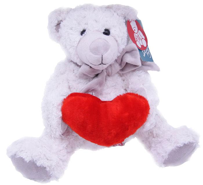 Magic Bear Toys Мягкая игрушка Мишка Сэмюэл в шарфе с сердцем 28 см magic bear toys мягкая игрушка медведь с заплатками в шарфе цвет коричневый 120 см