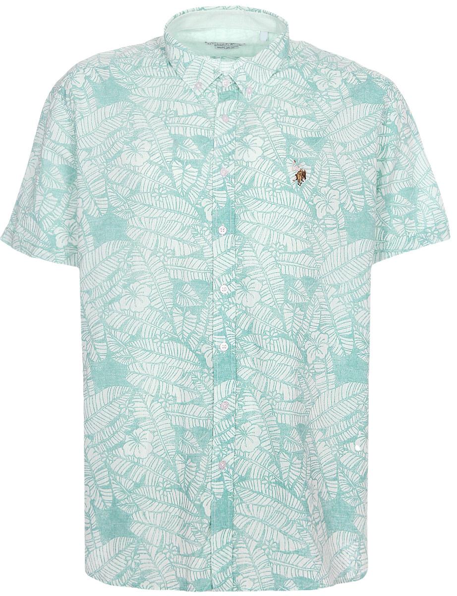 Рубашка мужская U.S. Polo Assn., цвет: бирюзовый. G081SZ004ACTOLOTY. Размер 2XL (56)G081SZ004ACTOLOTYПриталенная мужская рубашка, выполненная из хлопка c добавлением льна, подчеркнет ваш уникальный стиль и поможет создать оригинальный образ. Такой материал великолепно пропускает воздух, обеспечивая необходимую вентиляцию, а также обладает высокой гигроскопичностью. Рубашка с короткими рукавами и отложным воротником застегивается на пуговицы спереди.