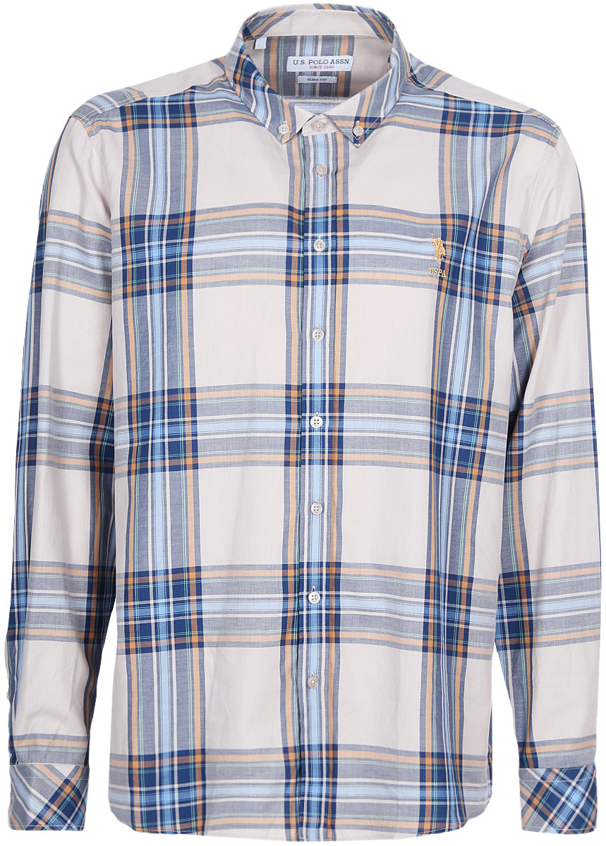 Рубашка мужская U.S. Polo Assn., цвет: бежевый. G081GL004ARMARAMSI. Размер L (52) virtue мужская рубашка бизнес стиль
