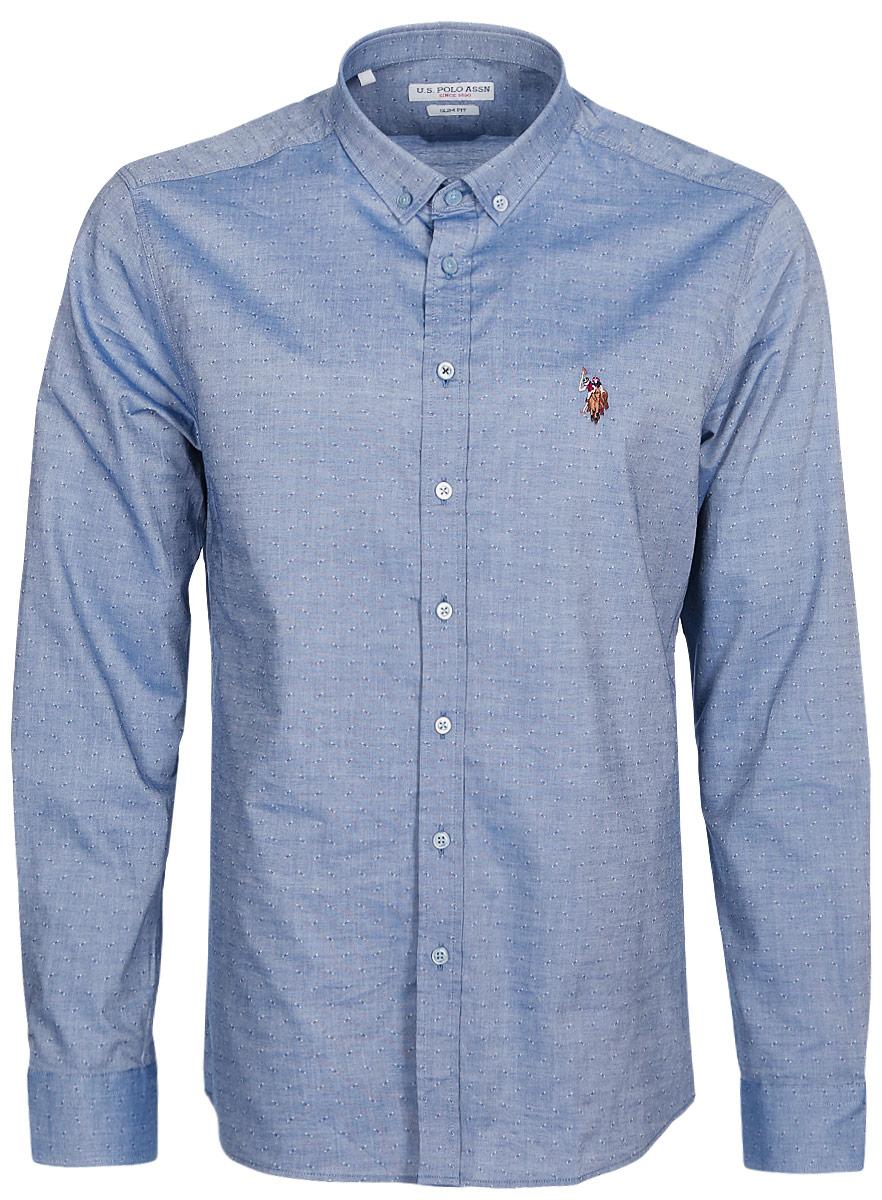 Рубашка мужская U.S. Polo Assn., цвет: темно-синий. G081GL004ARMASMITH. Размер M (50)G081GL004ARMASMITHСтильная приталенная мужская рубашка, выполненная из 100% хлопка, подчеркнет ваш уникальный стиль и поможет создать оригинальный образ. Такой материал великолепно пропускает воздух, обеспечивая необходимую вентиляцию, а также обладает высокой гигроскопичностью. Рубашка slim fit с длинными рукавами и отложным воротником застегивается на пуговицы спереди. Манжеты рукавов также застегиваются на пуговицы.