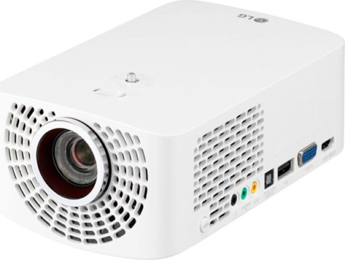LG PF1500G, White мультимедийный проекторET-00000313Full HD (1920 x 1080) • Lamp Life : 30,000 hrs, 1400 ANSI • Contrast Ratio : 150,000:1 Screen Share : Miracast RX, WiDi, MHLScreen Size : up to 120 inchBlu-Tooth Out Speaker : Wireless Connection5.2 x 8.4 x 3.3 (W x D x H) ? Weight : 3.85lb Movie, Music, Photo, Office File Thru USB3W + 3W StereoEco Friendly (Mercury Free)