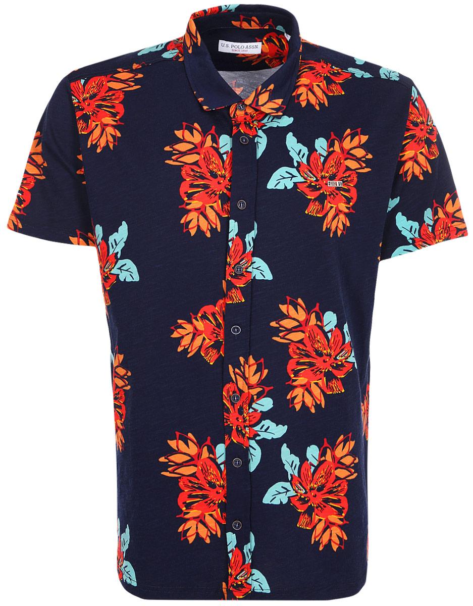 Рубашка мужская U.S. Polo Assn., цвет: синий. G081SZ0110JASPER. Размер S (48)G081SZ0110JASPERМужская рубашка от U.S. Polo Assn. выполнена из натурального хлопка. Модель с короткими рукавами и отложным воротником застегивается на пуговицы.