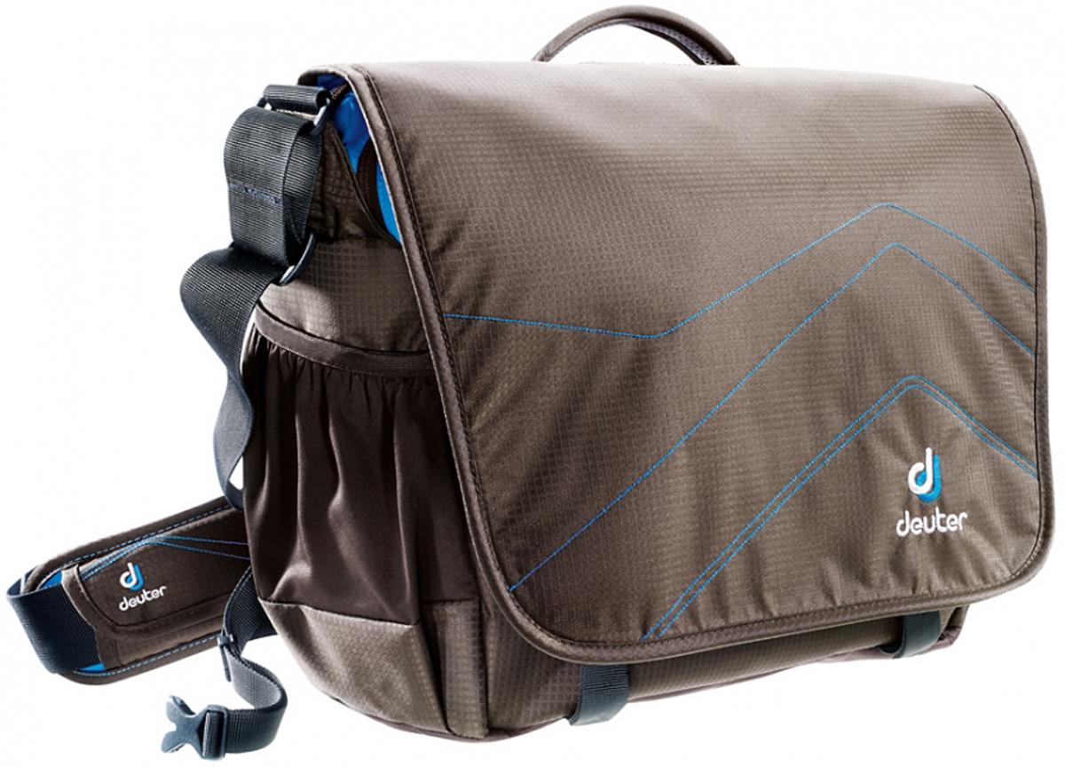 Deuter Сумка на плечо Shoulder Bags Operate II цвет коричневый бирюзовый85073-6306По пути в офис, на лекции или в деловой поездке - сумка на плечо Shoulder Bags Operate II будет незаменима: ноутбук спокойно лежит в мягком отделении, а книги и папки размещаются во внутренних и передних карманах на молниях. Поясной ремень обеспечивает дополнительную фиксацию при поездке на велосипеде. Особенности: • мягкая обивка сзади;• просторное основное отделение под размер папки;• два больших внутренних разделителя;• мягкие отделения для ноутбука на молнии;• большой фронтальный карман с органайзером;• клапан с застежкой Velcro;• съемный карабинчик для ключей;• регулируемый по высоте, убирающийся набедренный пояс;• эластичные боковые карманы;• удобная ручка для переноски;• вместительный карман на молнии сзади;• плечевой ремень со съемным подплечником может регулироваться одной рукой.