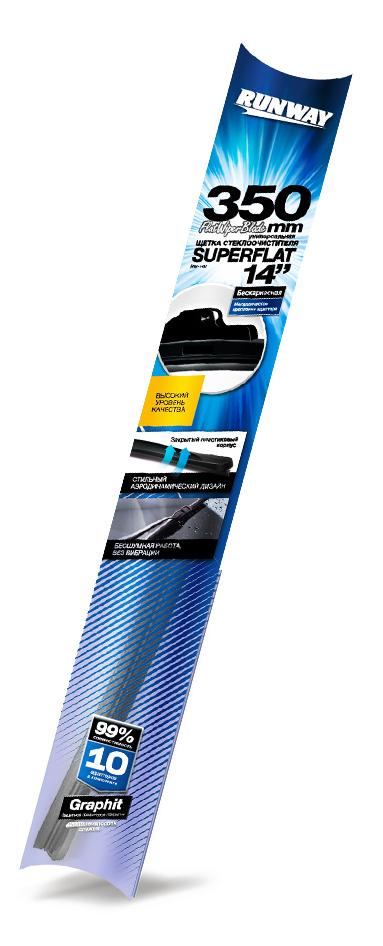 Щетка стеклоочистителя Runway Superflat, бескаркасная, универсальная, цвет: черный, 35 смRW-14UКонструкция Универсаль-ной щетки стеклоочисти-теля RUNWAY бескар-касной с графитовымпокрытием подстра-ивается под кривизнуконкретного лобового илизаднего стекла той илииной автомобильной маркии модели и обеспечиваеткачественную очисткустекла в любую погоду.Щетка стеклоочистителяRUNWAY изготовлена посовременным стандар-там и подходит для 99%моделей авто