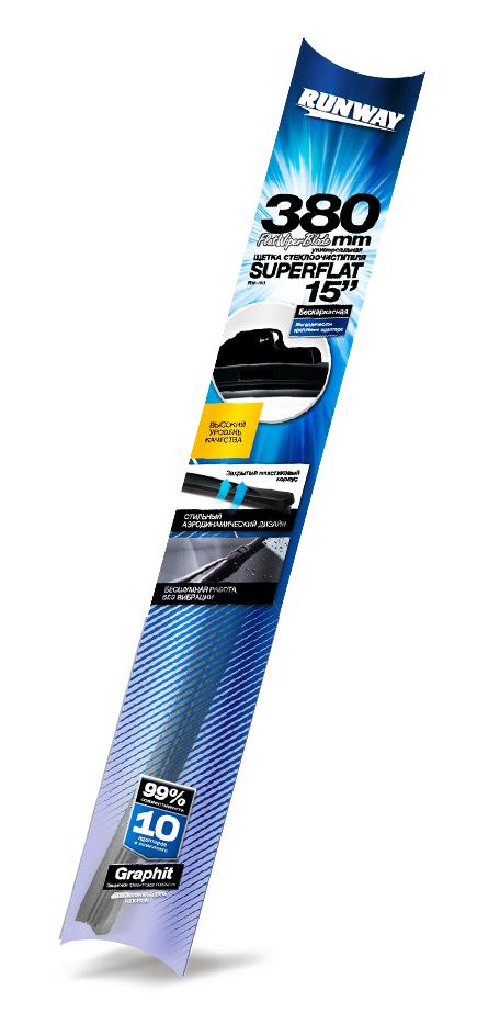 Щетка стеклоочистителя Runway Superflat, бескаркасная, универсальная, цвет: черный, 38 смRW-15UКонструкция Универсаль-ной щетки стеклоочисти-теля RUNWAY бескар-касной с графитовымпокрытием подстра-ивается под кривизнуконкретного лобового илизаднего стекла той илииной автомобильной маркии модели и обеспечиваеткачественную очисткустекла в любую погоду.Щетка стеклоочистителяRUNWAY изготовлена посовременным стандар-там и подходит для 99%моделей авто