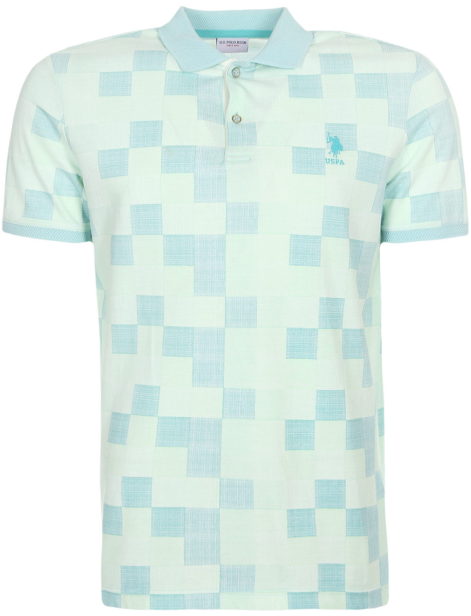 Поло мужское U.S. Polo Assn., цвет: бирюзовый. G081SZ0110HUNTER. Размер XXS (44)G081SZ0110HUNTERПриталенная мужская футболка-поло, выполненная из 100% хлопка, подчеркнет ваш уникальный стиль и поможет создать оригинальный образ. Такой материал великолепно пропускает воздух, обеспечивая необходимую вентиляцию, а также обладает высокой гигроскопичностью. Поло с короткими рукавами и отложным воротником застегивается на пуговицы спереди.