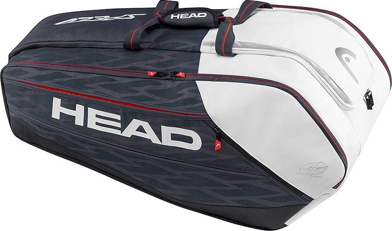 Сумка теннисная HEAD Djokovic 12R Monstercombi, на 12 ракеток283077Сумка на 12 ракеток с отделением для обуви. Можно носить как рюкзак. Состав: 80% полиэстер, 20% полиуретан.