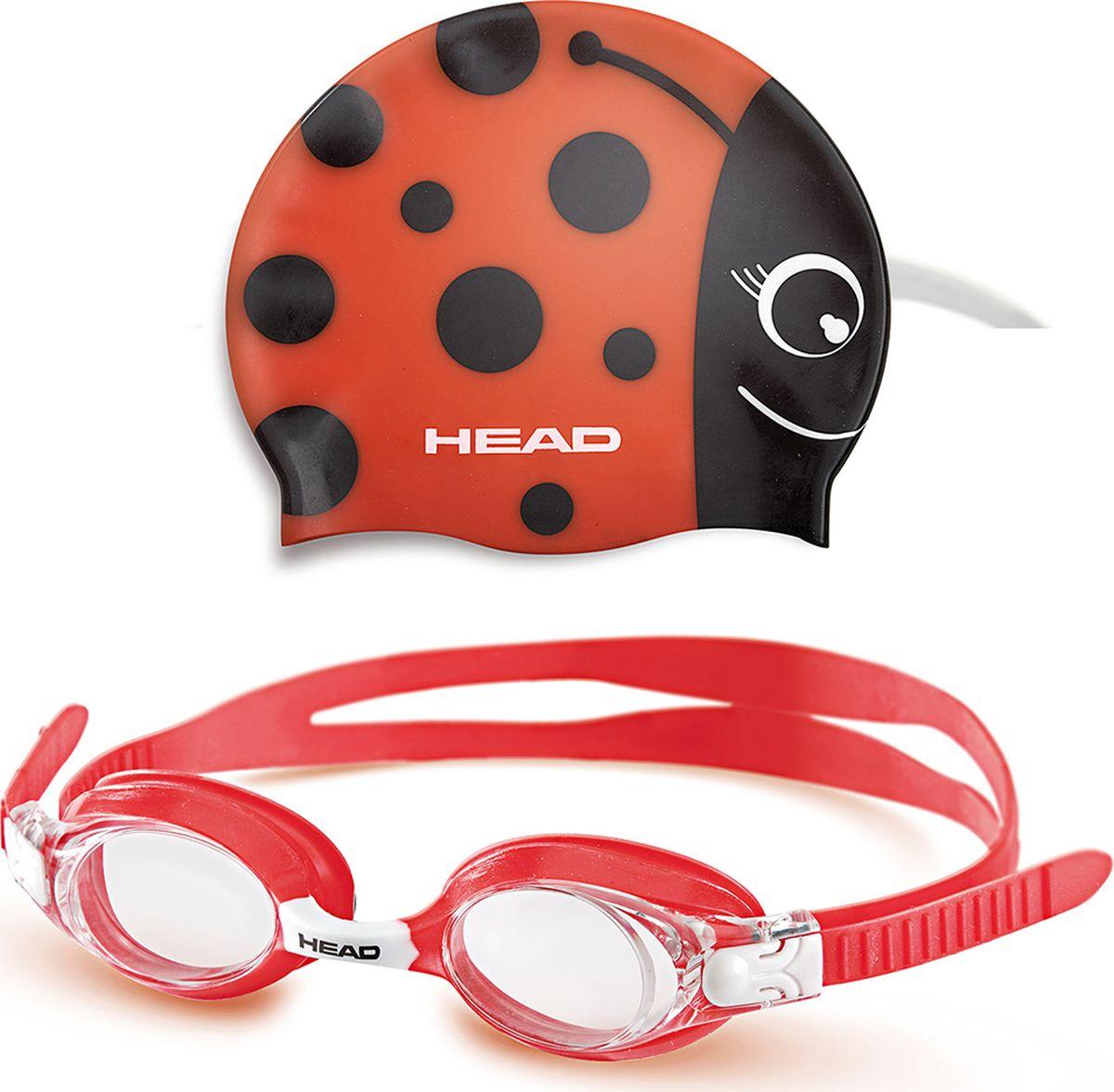 Детский набор для плавания HEAD Meteor Character, цвет: красный451020-RDRDДетский набор для плавания: шапочка + очки.