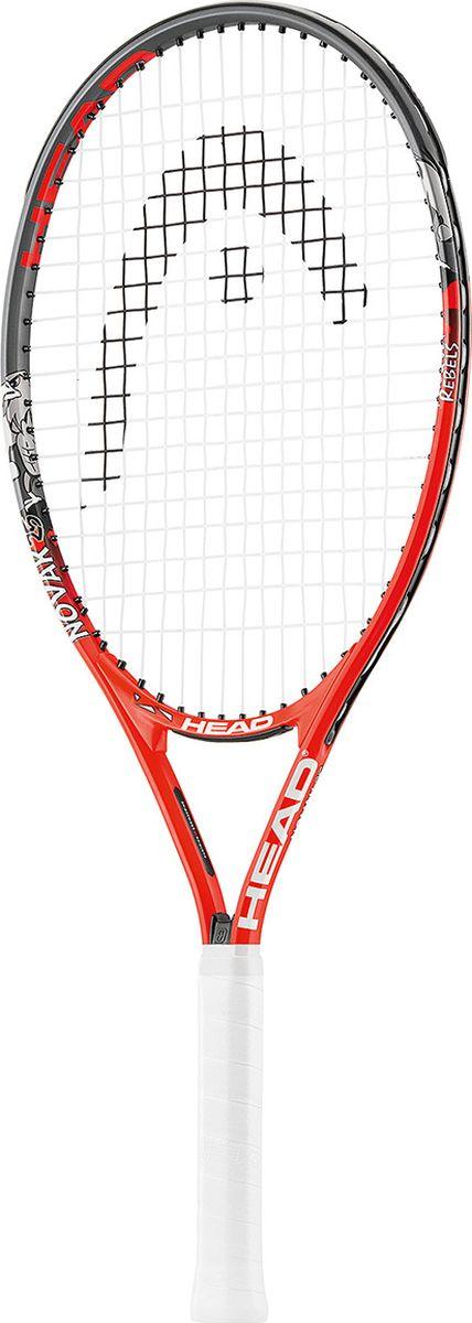 Ракетка теннисная детская HEAD Novak 25, ручка 5233607Алюминиевая ракетка для мальчика 8-10 лет. Длина 635 мм, размер головы 680 см2, вес 240 гр.