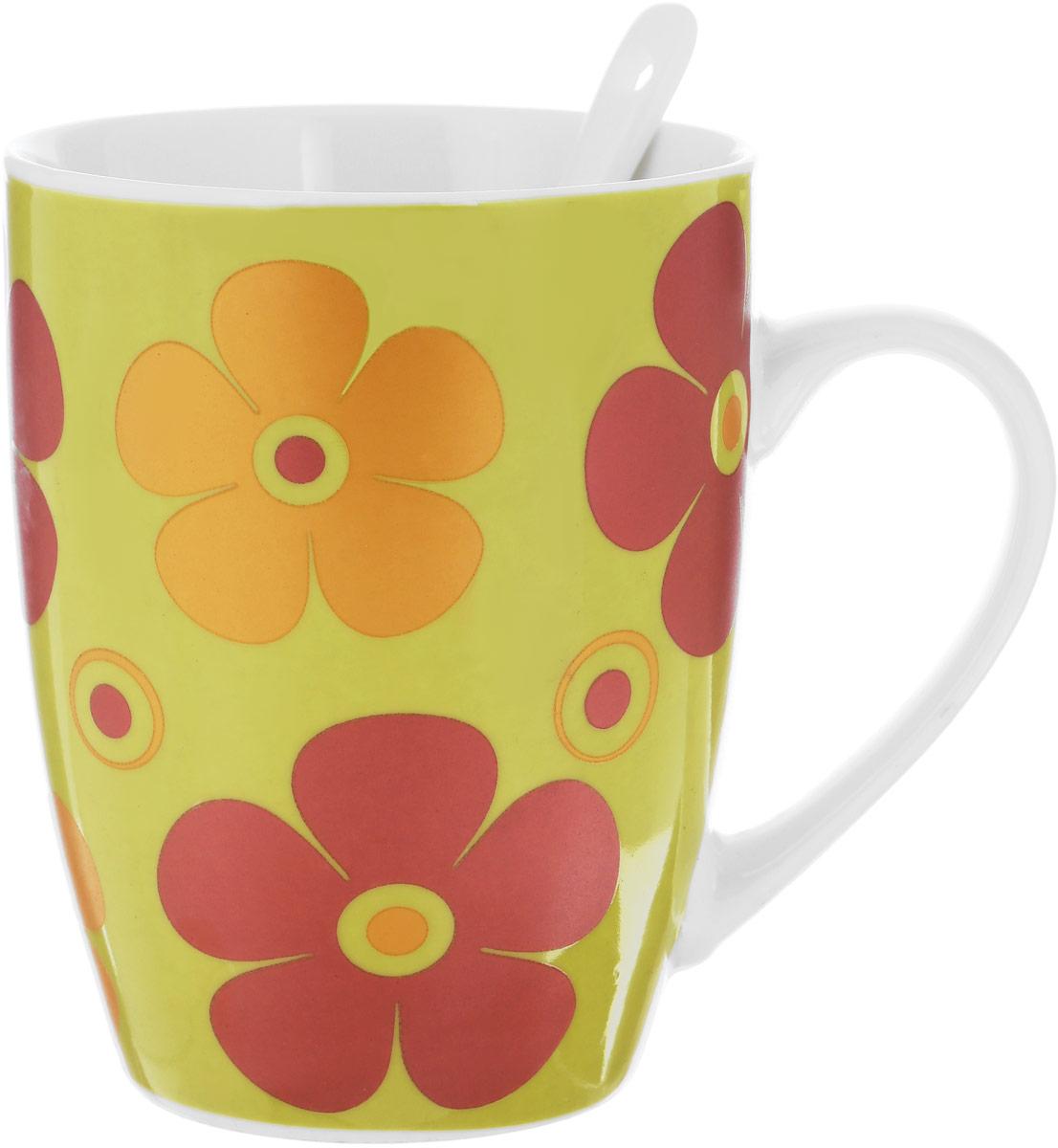 Кружка Доляна Радуга цветов, с ложкой, цвет: оливковый, 300 мл кружка доляна радуга цвет желтый белый 300 мл