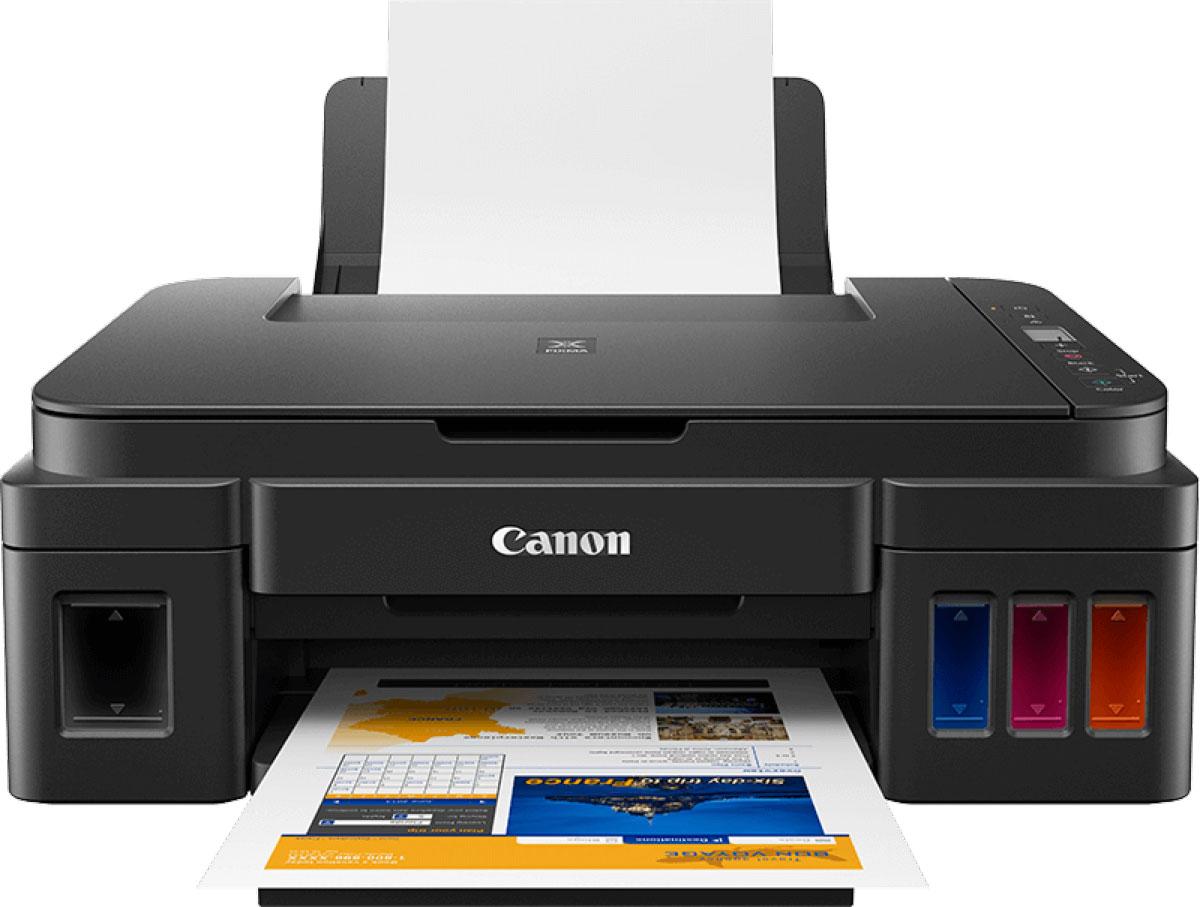 Canon Pixma G2410, Black МФУ2313C009Canon Pixma G2410 - компактное и надежное многофункциональное устройство без картриджей, которое обеспечивает экономичную и производительную печать.Эффективный и универсальный многофункциональный принтер для дома и офиса с СНПЧ обеспечивает экономичность и высокое качество печати, копирования и сканирования большого количества документов и фотографий.Печатайте высококачественные материалы с помощью технологии Canon FINE и гибридной системы чернил: черные пигментные чернила обеспечат четкую печать документов, а цветные водорастворимые помогут напечатать яркие фотографии без полей формата до A4.Это компактное устройство Все в одном с функциями печати, копирования и сканирования легко справляется с большими объемами печати благодаря надежной системе чернил FINE. Идеально подходит для использования дома и в небольших офисах.Быстрое USB-подключение к компьютеру и простое управление благодаря кнопочным элементам управления и монохромному ЖК-экрану диагональю 1,2 (3 см), который обеспечивает удобный выбор нескольких копий.Легко редактируйте и печатайте фотографии с помощью программы My Image Garden, располагающей функцией распознавания лиц, которая позволит вам быстро находить необходимые изображения на компьютере.