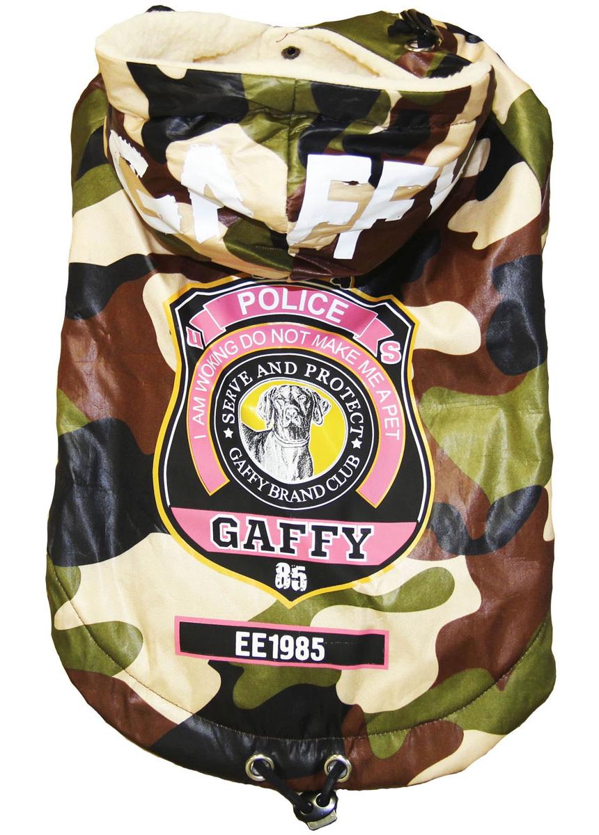 Куртка-пуховик для собак Gaffy Pet Police, унисекс. Размер M11015MТеплая куртка-пуховик защитного цвета Хаки - популярный и актуальный принт. Подойдет как мальчикам, так и девочкам. Можно сочетать с рубашками и майками. Утеплена изнутри.Оригинальные нашивки в виде полицейских значков. Дополнительная резинка в поясе