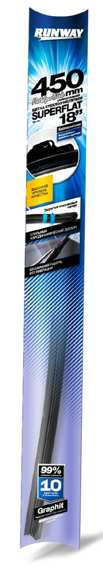 """Щетка стеклоочистителя Runway """"Superflat"""", бескаркасная, универсальная, цвет: черный, 45 см"""