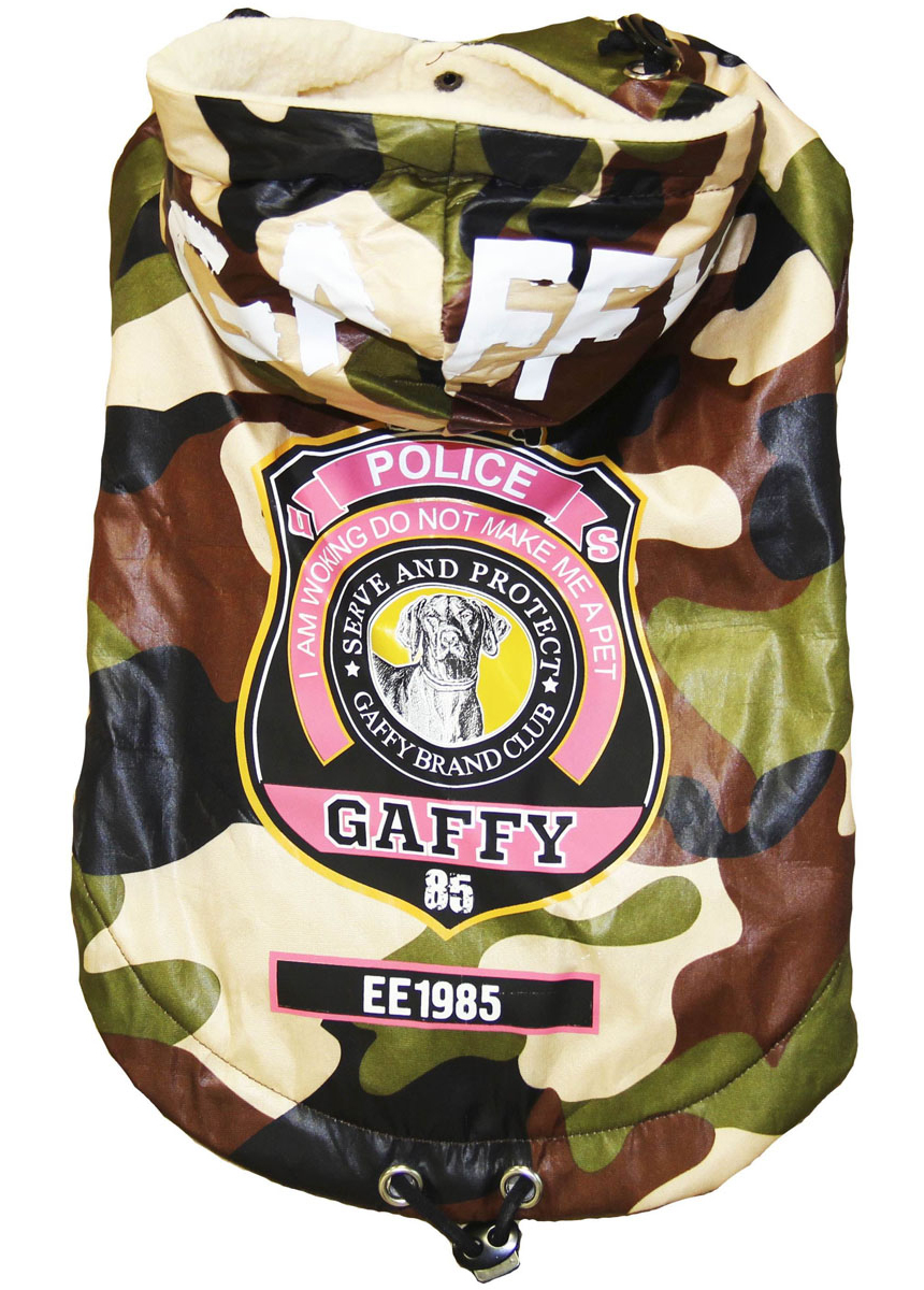 Куртка-пуховик для собак Gaffy Pet Police, унисекс. Размер XS куртка для собак gaffy pet polka dot унисекс цвет желтый размер l