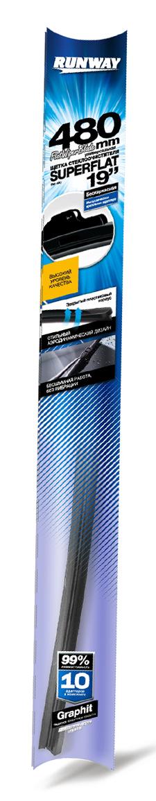 """Щетка стеклоочистителя Runway """"Superflat"""", бескаркасная, универсальная, цвет: черный, 48 см"""