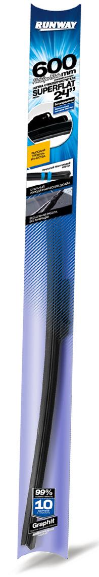 Щетка стеклоочистителя Runway Superflat, бескаркасная, универсальная, цвет: черный, 60 смRW-24UКонструкция Универсаль-ной щетки стеклоочисти-теля RUNWAY бескар-касной с графитовымпокрытием подстра-ивается под кривизнуконкретного лобового илизаднего стекла той илииной автомобильной маркии модели и обеспечиваеткачественную очисткустекла в любую погоду.Щетка стеклоочистителяRUNWAY изготовлена посовременным стандар-там и подходит для 99%моделей авто