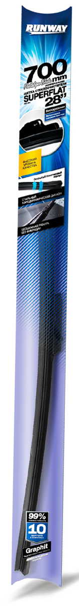 Щетка стеклоочистителя Runway Superflat, бескаркасная, универсальная, цвет: черный, 70 смRW-28UКонструкция Универсаль-ной щетки стеклоочисти-теля RUNWAY бескар-касной с графитовымпокрытием подстра-ивается под кривизнуконкретного лобового илизаднего стекла той илииной автомобильной маркии модели и обеспечиваеткачественную очисткустекла в любую погоду.Щетка стеклоочистителяRUNWAY изготовлена посовременным стандар-там и подходит для 99%моделей авто