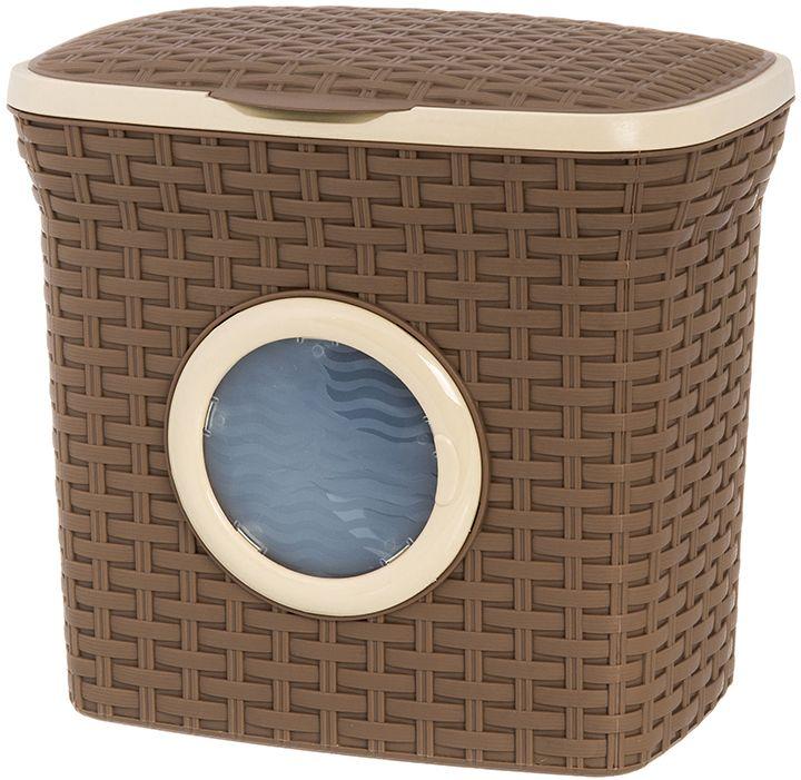 Контейнер для стирального порошка с иллюминатором Violet Ротанг, цвет: коричневый, 10 л. 811212811212Контейнер для стирального порошка Violet вместителен, поможет организовать пространство в вашем доме, а благодаря своему дизайну подойдет к любому интерьеру, что, несомненно, придется по душе каждой хозяйке! Контейнер выполнен из полипропилена.