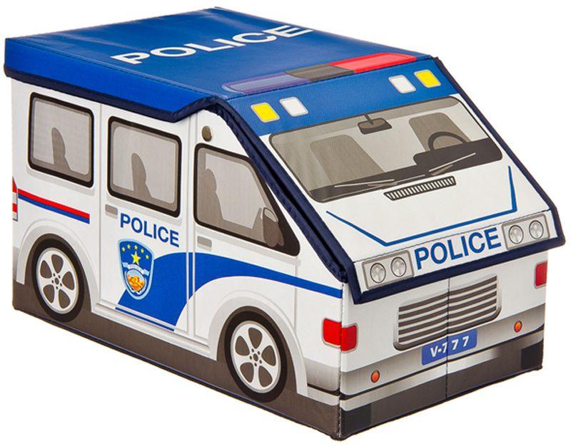 """Складной кофр-короб """"Vetta"""" в виде полицейской машины отлично подойдет для детской комнаты мальчика. В нем удобно разместятся все игрушки. Изделие выполнено из ПВХ."""