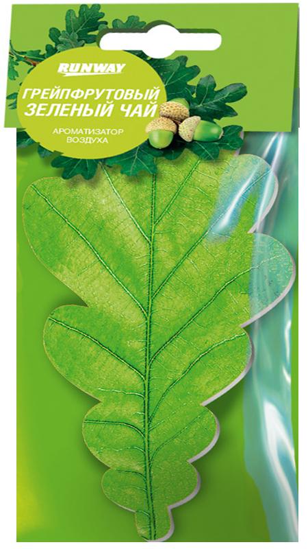 Ароматизатор воздуха Runway Листик. Грейпфрутовый зеленый чай, цвет: зеленыйRW6050Ароматизатор воздуха для придания приятного аромата воздуху в салоне автомобиля. Быстро и ненавязчиво устранит неприятные запахи! Имеет приятный запах свежести. Может использоваться в быту