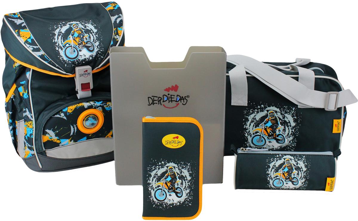 DerDieDas Ранец с наполнением Ergoflex Мотоцикл8405053Школьные ранцы DerDieDas: учеба с комфортом Конструкция немецких рюкзаков разработана учеными и врачами с одной целью - снизить нагрузку на спину и предотвратить нарушения опорно-двигательного аппарата. Идеальное решение – эргономичная спинка, повторяющая контуры позвоночника. Спинка рюкзака представляет собой достаточно жесткую анатомическую конструкцию с мягкими подушечками, благодаря которым он комфортно прилегает к спине. Лямки легко подгоняются под рост ребенка при помощи специальных прорезей.Нагрудный ремень способствует равномерному распределению веса ранца и обеспечивает плотное прилегание к спине. Съемный поясной ремень надежно фиксирует школьный ранец и уменьшает нагрузку на спину. S-образные лямки плотно прилегают к плечам, но не причиняют дискомфорта телу и не нарушают кровообращения. Немецкие ранцы выполнены из прочного полиэстера, который не пачкается, не рвется, не промокает, «дышит», легко моется. Родителям не придется переживать о каждом пятнышке на красивом школьном рюкзаке. Полосы из светоотражающего материала Reflexite заботятся о безопасности ребенка и подходят для любых климатических условий. Пластиковое дно на ножках способствует тому, что ранец не опрокидывается и сохраняет «равновесие» в самых некомфортных ситуациях. Удобный современный магнитный замок, просторное основное отделение, боковые карманы-отсеки и другие полезные приспособления разработаны под потребности школьников. Стильный дизайн, яркие расцветки, веселые рисунки и брелоки – все это нравится детям и способствует усилению интереса к учебе, а это в школе самое главное! Школьный ранец DerDieDas ErgoFlex – легкость, практичность и эргономика Вес ранца: 800 гр. Размер: 33 x 40 x 23 см. Объем: 20.5 л Спортивная сумка, два пенала и элегантная папка-бокс, входящие в комплект ранца, выполнены в одном стиле. Пластиковая папка-бокс отличается удобством и прочностью. Спортивная сумка на молнии. Размер: 34х21,5х16см. Сумка из легко моюще