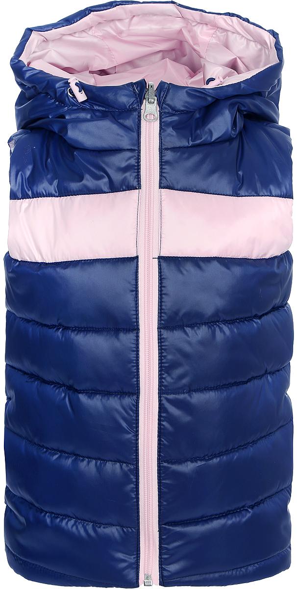 Жилет для девочки Boom!, цвет: светло-розовый, темно-синий. 80024_BOG. Размер 98