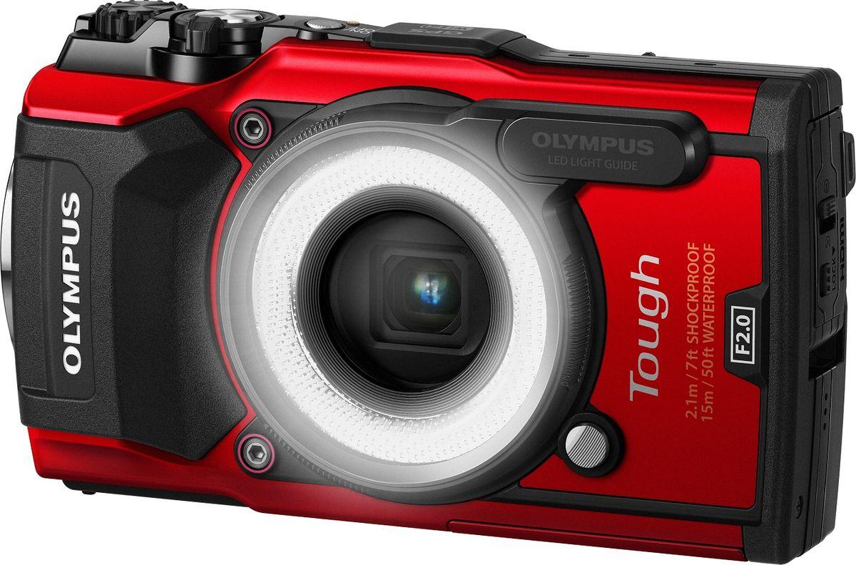 Olympus TG-5, Red цифровая фотокамера в комплекте с LG-1V104190REK000Olympus TG-5 - надежный напарник в самых суровых испытаниях.Новый быстрый и высокочувствительный сенсор изображения в сочетании с графическим процессором TruePic VIII, уже известный нам по флагману OM-D E-M1 Mark II, обеспечивает лучшее качество снимков - с расширенным динамическим диапазоном и значительно улучшенным откликом камеры.Бесплатное приложение OI. Track позволяет прямо в камере привязывать данные GPS, компаса, манометра и температуры к видео и фотографиям, а также передавать их через Wi-Fi в смартфон или на планшет.Сильные изменения температуры могут вызвать образование конденсата на линзе объектива. Благодаря двойному защитному стеклу TG-5 предотвращает запотевание даже при очень резких перепадах. Теперь вы можете противостоять любой погоде.Современные технологии обработки изображений позволяют запомнить события до мельчайших деталей. Супербыстрый графический процессор TruePic VIII позволяет записывать видео высокого разрешения в формате 4К и создавать Full HD со скоростью 120 кадров в секунду.Всегда хотели снимать маленькие объекты, которые нельзя увидеть невооруженным взглядом? Теперь это возможно благодаря четырехуровневой системе макросъемки (Микроскоп, Управление Микроскопом, Focus Bracketing и Focus Stacking) и максимальному 7-кратному увеличению изображений. В режиме Микроскоп минимальная дистанция фокусировки составляет всего 1 см. В режиме Управление Микроскопом вы можете увеличить изображение в 44.4 раза. Для еще более высокого качества доступен кольцевой рассеиватель для макросъемки LG-1.Снимайте захватывающие видео в формате 4K и прикрепляйте к ним информацию об окружающей природе. Камера оснащена системой датчиков, в которую входят GPS, компас, манометр, датчик температуры. Импортируйте изображения в смартфон или планшет с помощью встроенного модуля Wi-Fi и приложения OI. Share, импортируйте данные с датчиков через приложение OI. Track.Снимайте звездопад, фейерверки и светл