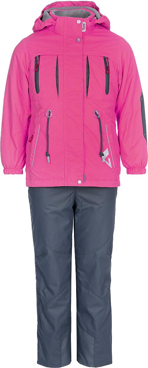Комплект верхней одежды для девочки Oldos Active Киана, цвет: розовый, серый. 2A8SU20. Размер 128, 8 лет2A8SU20Технологичный весенний костюм из мембранной коллекции от Oldos Active состоит из куртки и брюк. Верхняя ткань с мембраной 3000/3000 обеспечивает водонепроницаемость, при этом одежда дышит. Покрытие Teflon повышает износостойкость, а также облегчает уход за костюмом. Утеплитель в куртке Hollofan PRO 100 г/м2. Подкладка в куртке - флис, в брюках - плотный полиэстер. Функционал продуман до мелочей. В куртке - капюшон, который отстегивается при необходимости, двойная ветрозащитная планка, манжеты на резинке, внешняя регулировка на шнур по талии, карманы на молнии, внутренний карман, который застегивается на липучку с нашивкой-потеряшкой. В брюках - объем талии регулируется, съемные регулируемые по длине лямки, карманы на молнии, ветрозащитная муфта с антискользящей резинкой, усиления по низу брюк в местах особого износа. Светоотражающие элементы. Рекомендовано от -5°С до +10°С.