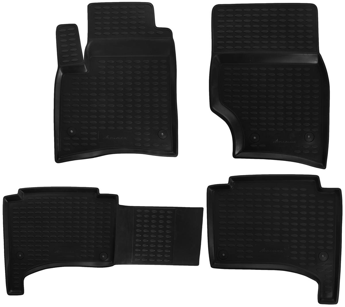 Набор автомобильных ковриков Novline-Autofamily для Volkswagen Touareg 10/2002-2010, в салон, цвет: черный, 4 штNLC.51.01.210kНабор автомобильных ковриков Novline-Autofamily, изготовленный из полиуретана, состоит из 4 ковриков, которые учитывают все особенности каждой модели автомобиля и полностью повторяют контуры пола. Полиуретановые автомобильные коврики для салона произведены из высококачественного материала, который держит форму, прочный и не пачкает обувь. Коврики в салон не только улучшат внешний вид салона вашего автомобиля, но и надежно уберегут его от пыли, грязи и сырости, а значит, защитят кузов от коррозии. Полиуретановые коврики для автомобиля гладкие, приятные и не пропускают влагу. Коврики имеют антискользящую поверхность, что очень важно во время движения. Чистятся коврики очень просто: как при помощи автомобильного пылесоса, так и различными моющими средствами. Набор подходит для Volkswagen Touareg октябрь 2002 - 2010 годов выпуска.