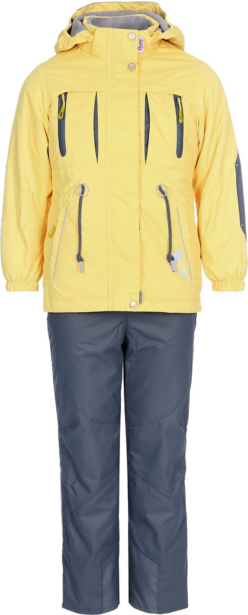 Комплект верхней одежды для девочки Oldos Active Киана, цвет: желтый, серый. 2A8SU20. Размер 110, 5 лет2A8SU20Технологичный весенний костюм из мембранной коллекции от Oldos Active состоит из куртки и брюк. Верхняя ткань с мембраной 3000/3000 обеспечивает водонепроницаемость, при этом одежда дышит. Покрытие Teflon повышает износостойкость, а также облегчает уход за костюмом. Утеплитель в куртке Hollofan PRO 100 г/м2. Подкладка в куртке - флис, в брюках - плотный полиэстер. Функционал продуман до мелочей. В куртке - капюшон, который отстегивается при необходимости, двойная ветрозащитная планка, манжеты на резинке, внешняя регулировка на шнур по талии, карманы на молнии, внутренний карман, который застегивается на липучку с нашивкой-потеряшкой. В брюках - объем талии регулируется, съемные регулируемые по длине лямки, карманы на молнии, ветрозащитная муфта с антискользящей резинкой, усиления по низу брюк в местах особого износа. Светоотражающие элементы. Рекомендовано от -5°С до +10°С.