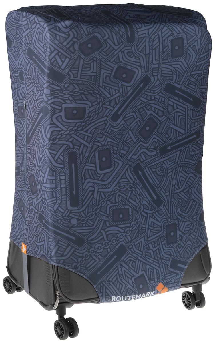 Чехол для чемодана Routemark, цвет: серый, темно-серый, размер M/L (85 х 65 см) чехлы для чемоданов routemark чехол для чемодана citizen m l 65 74 см