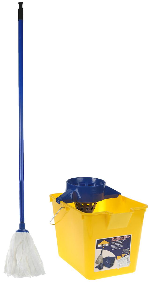 Комплект для уборки пола Rozenbal, цвет: синий, желтый, 12 л. R211614R211614_синий, желтыйКомплект для уборки пола Rozenbal включает в себя ведро с отжимом для швабры, а так жеудобную швабру для мыть пола.Ведро изготовлено из крепкого утолщенного пластика иснабжено широкой отжимной воронкой. Идеально подходит для отжима хлопковых швабр. Длянаиболее эффективного отжима швабру нужно вставлять в отжим слегка вращая.На дневедра есть выемка для руки, благодаря которой воду легко выливать.Особенности: Высота швабры: 125 см. Размеры ведра: 36 х 25 х 25 см.