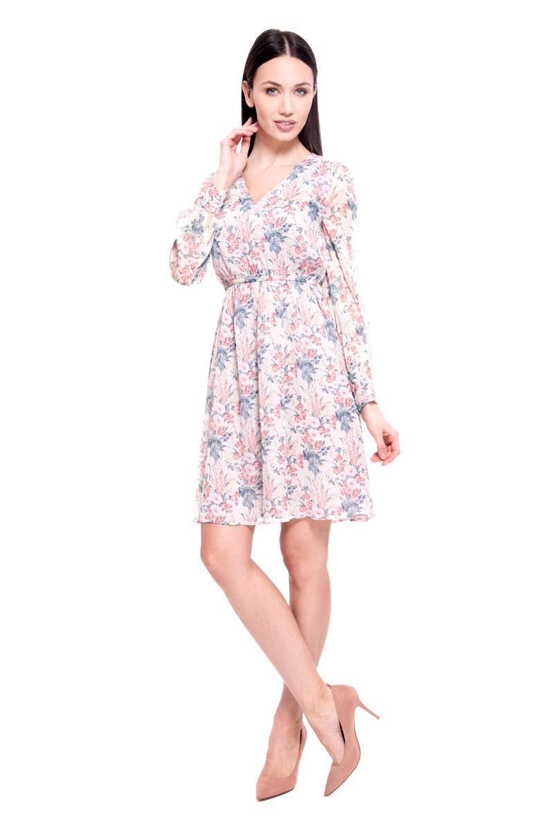 Платье Lusio, цвет: бежевый. SS18-020202. Размер S (42/44)SS18-020202Очаровательное платье от Lusio выполнено из полиэстера. Модель с V-образным вырезом горловины и длинными рукавами оформлена цветочным принтом. На талии предусмотрена резинка для лучшего прилегания изделия.