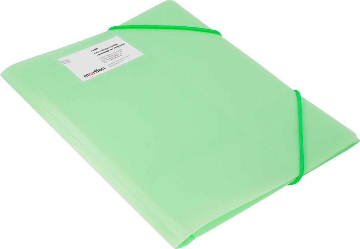 Бюрократ Папка на резинке Gems А4 цвет светло-зеленый1014879Коллекция Gems ( самоцветы ) – это новые, интересные модели пластиковых папок, исполненных в перламутровых цветах: розовый аметист, голубой топаз, кремовый жемчуг и зеленый турмалин. Благодаря яркому акценту и необычным перламутровым оттенкам папки серии Gems отличаются от других скучных офисных товаров. Папка на резинке надежно защитит ваши документы, корешок расширяется до 30мм. Фиксирующие резинки в цвет пластика. Прозрачный карман для визитных карточек, толщиной 0,5мм. Папки упакованы в сложенном виде, что предотвращает заломы.Окружите себя самоцветами!