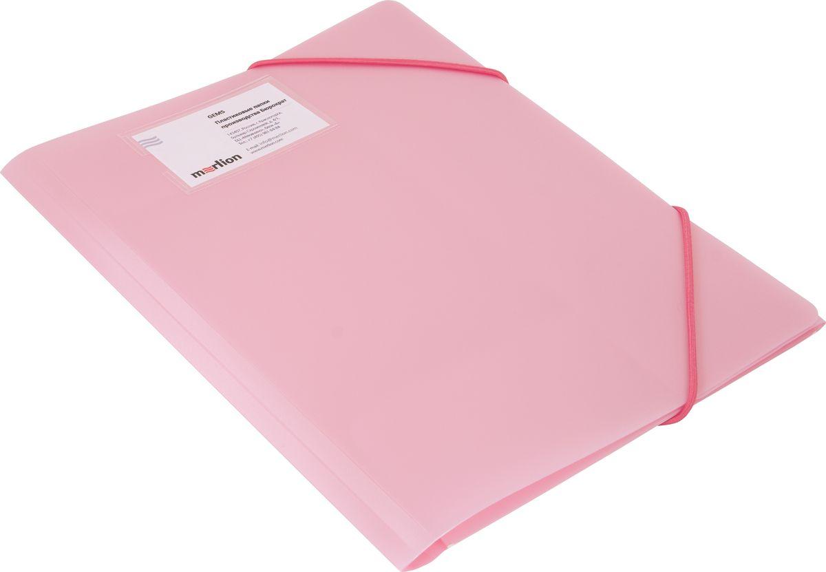 Бюрократ Папка на резинке Gems А4 цвет светло-розовый
