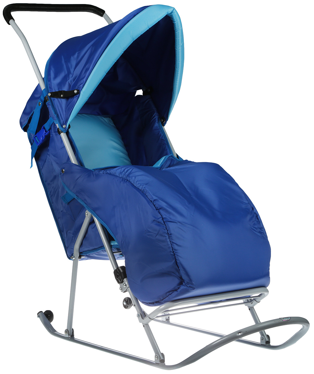 Фея Санки-коляска Метелица Люкс с тентом цвет голубой синий - Санки и снегокаты