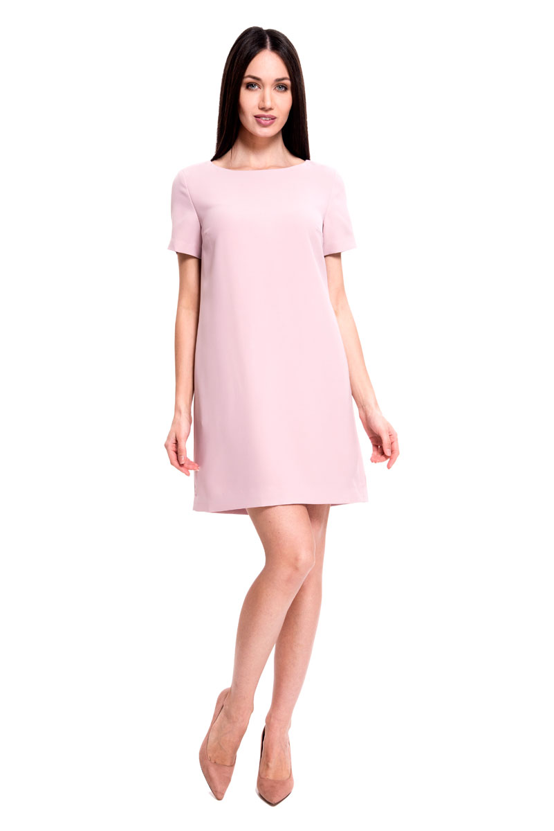 Платье Lusio, цвет: розовый. SS18-020137. Размер L (46/48)SS18-020137Стильное платье от Lusio выполнено из полиэстера. Модель с круглым вырезом горловины и короткими рукавами исполнена в лаконичном дизайне. На спинке изделие застегивается на молнию по всей длине.
