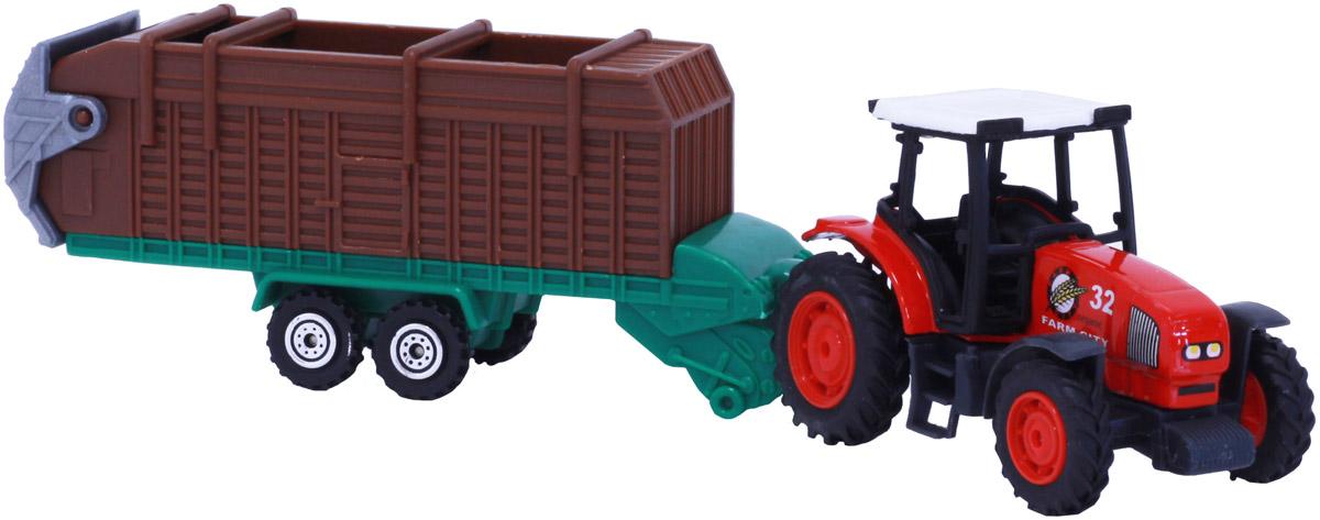 Pioneer Toys Машинка Трактор со спецтехникой на прицепе