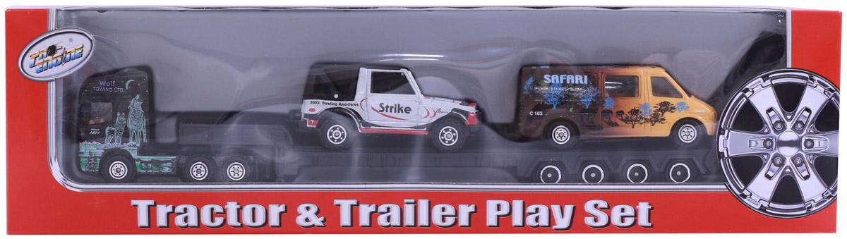 Pioneer Toys Набор дорожный на трейлере серебристый, коричневый pioneer toys набор машин фура