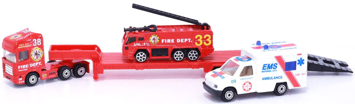 Pioneer Toys Набор пожарной техники на трейлере цвет красный сабвуфер pioneer ts w106m 250вт 1100вт 4ом