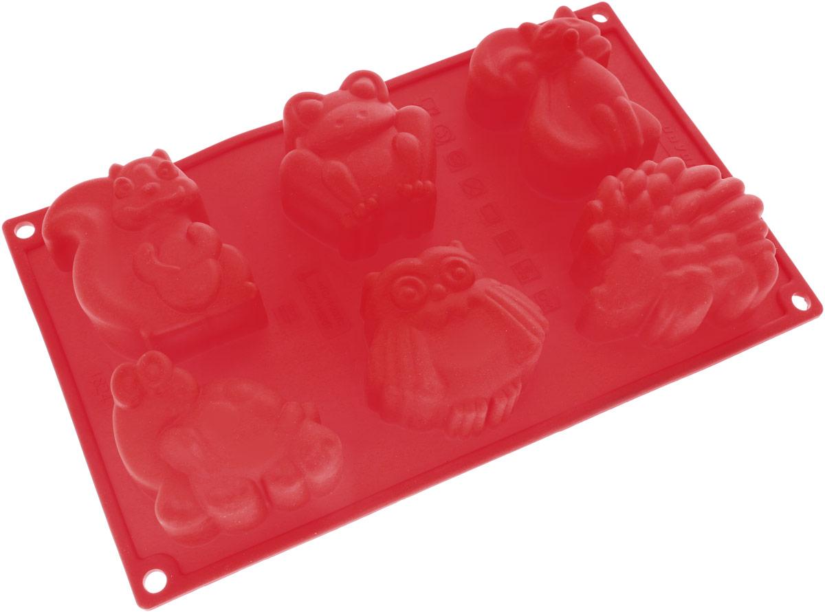 Форма для выпечки Доляна Зоопарк, цвет: красный, 29,9 х 17,5 х 3,5 см, 6 ячеек1857435_красныйФорма для выпечки из силикона - современное решение для практичных и радушных хозяек.Оригинальный предмет позволяет готовить в духовке любимые блюда из мяса, рыбы, птицы иовощей, а также вкуснейшую выпечку. Почему это изделие должно быть на кухне? - блюдо сохраняет нужную форму и легко отделяется от стенок после приготовления; - высокая термостойкость (от -40°C до 230°C) позволяет применять форму в духовых шкафах иморозильных камерах; - небольшая масса делает эксплуатацию предмета простой даже для хрупкой женщины; - силикон пригоден для посудомоечных машин; - высокопрочный материал делает форму долговечным инструментом; - при хранении предмет занимает мало места. Советы по использованию формы: Перед первым применением промойте предмет теплой водой. В процессе приготовления используйте кухонный инструмент из дерева, пластика или силикона.Перед извлечением блюда из силиконовой формы дайте ему немного остыть, осторожноотогните края предмета. Готовьте с удовольствием!