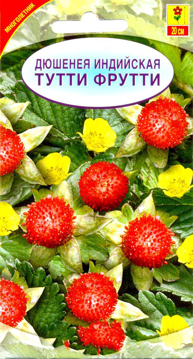 Семена Сортсемовощ Дюшенея индийская. Тутти фрутти4601819456352Многолетнее растение с ползучими стеблями до 100 см длинной. Своим видом дюшенея очень напоминает землянику. Листья тройчатые, цветки одиночные (до 1,5 см в диаметре), желтые, плоды красные, сочные, съедобные, но не вкусные. Дюшенея превосходный почвопокровник. Она очень быстро разрастается, укрывая почву ковром из темно-зеленых опушенных листьев. Также используется для оформления склонов и в местах где необходимо быстро заполнить пространство между деревьями и кустарниками, в том числе хвойными.Посев: семенами весной во влажную почву. Семена дюшенеи индийской прорастают в течение 1-6 недель, однако время их прорастания можно сократить, если подвергнуть их стратификации. Для этого сразу же после посева семян в ящике или в горшке поставить их на неделю в холодильник. А затем расположить их в теплом, солнечном месте.Уход: обычный, включает подкормки и поливы в засушливую погоду. Дюшенея неприхотлива, растет практически на любой почве. Влаголюбива, но засухоустойчива.Цветение: с мая до самых заморозков.