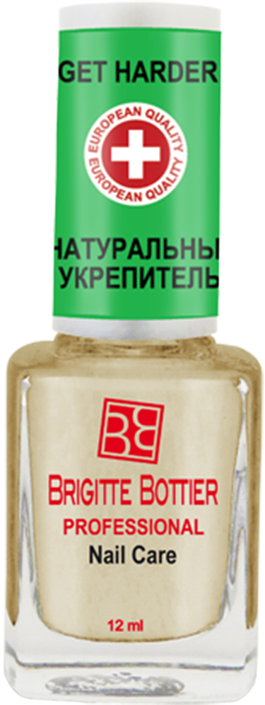 Brigitte Bottier лечебное средство для ногтей (05) Натуральный Укрепитель Get Harder, 12 млBB-РNC/05Высокоэффективное запатентованное средство на натуральной основе для мягких ногтей. Содержит аллантоин, глицерин, органический силикон и витамин Е, глубоко проникает в структуру ногтя, оказывая противовоспалительное и антибактериальное действие, обильно увлажняя, питая и укрепляя ее.