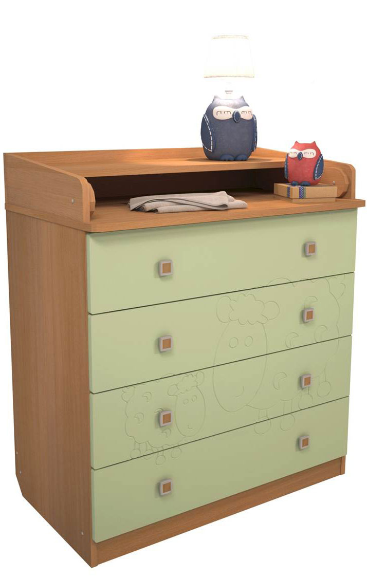 Фея Комод пеленальный Белые кудряшки цвет бук-оливковый0001042.10.3Преимущества: • 4 вместительных ящика • удобная откидная поверхность для пеленания • эргономичные ручки • фасады МДФ с фрезеровкой, • когда ребенок подрастет, Вы сможете снять пеленальную доску, и комод превращается в обычный предмет домашней мебели.Габариты и вес Размеры (ДхШхВ) – 80,4 х 47,0 х 91,7 см Размер пеленального столика (Г х Ш)- 74 х 77см. Вес - 40,0 кг