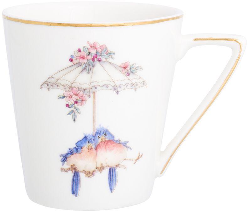 Кружка Elan Gallery Птички под зонтиком, цвет: белый, 190 мл
